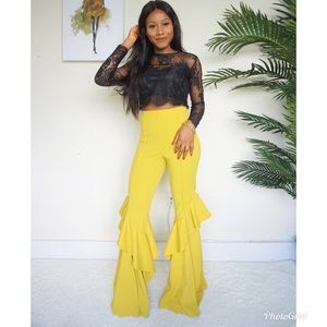 Pants - Yellow high waisted wide legged pant f0b379891